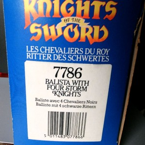Jul 235.13  - Britains Knight of the Sword No. 7787  Catapult with 4 Silver Knights (2)